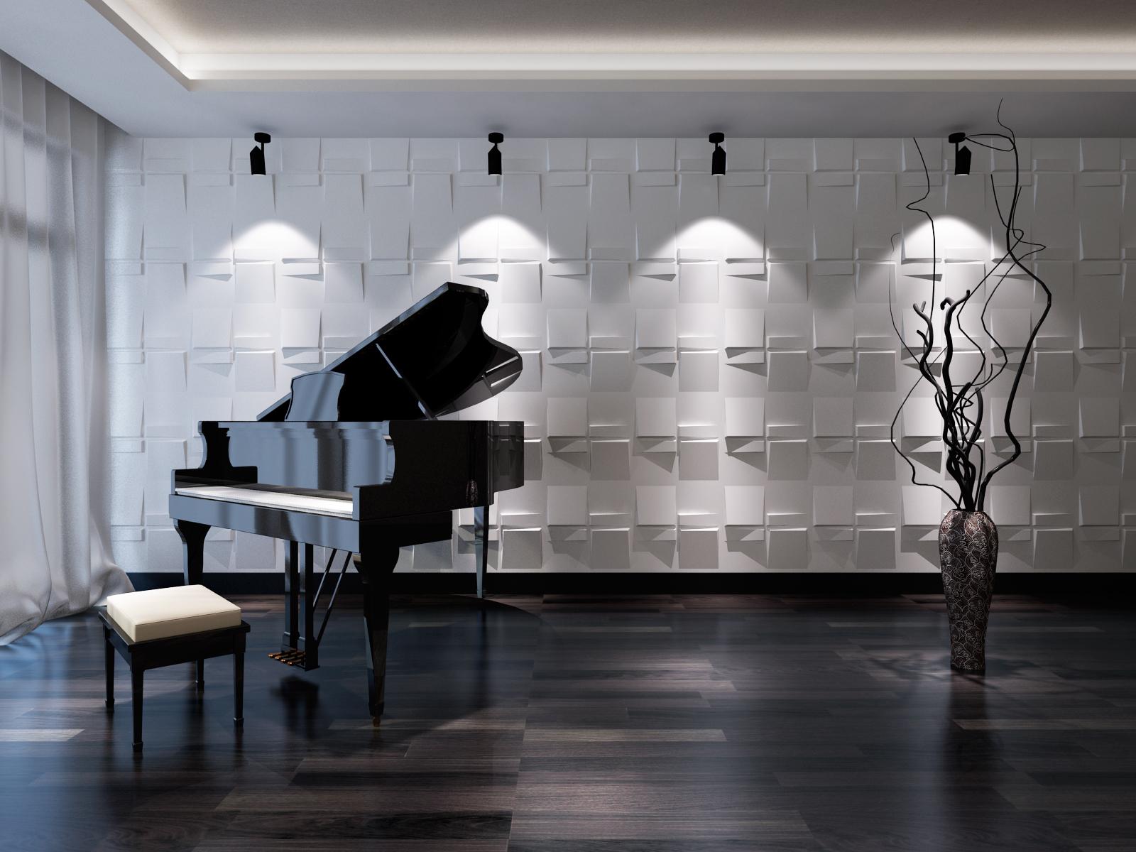 Пианино на фоне 3D-панелей
