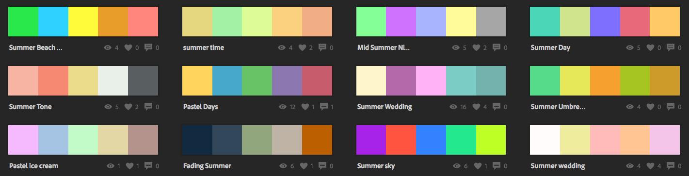 Варианты летних пастельных палитр в Adobe Kuler